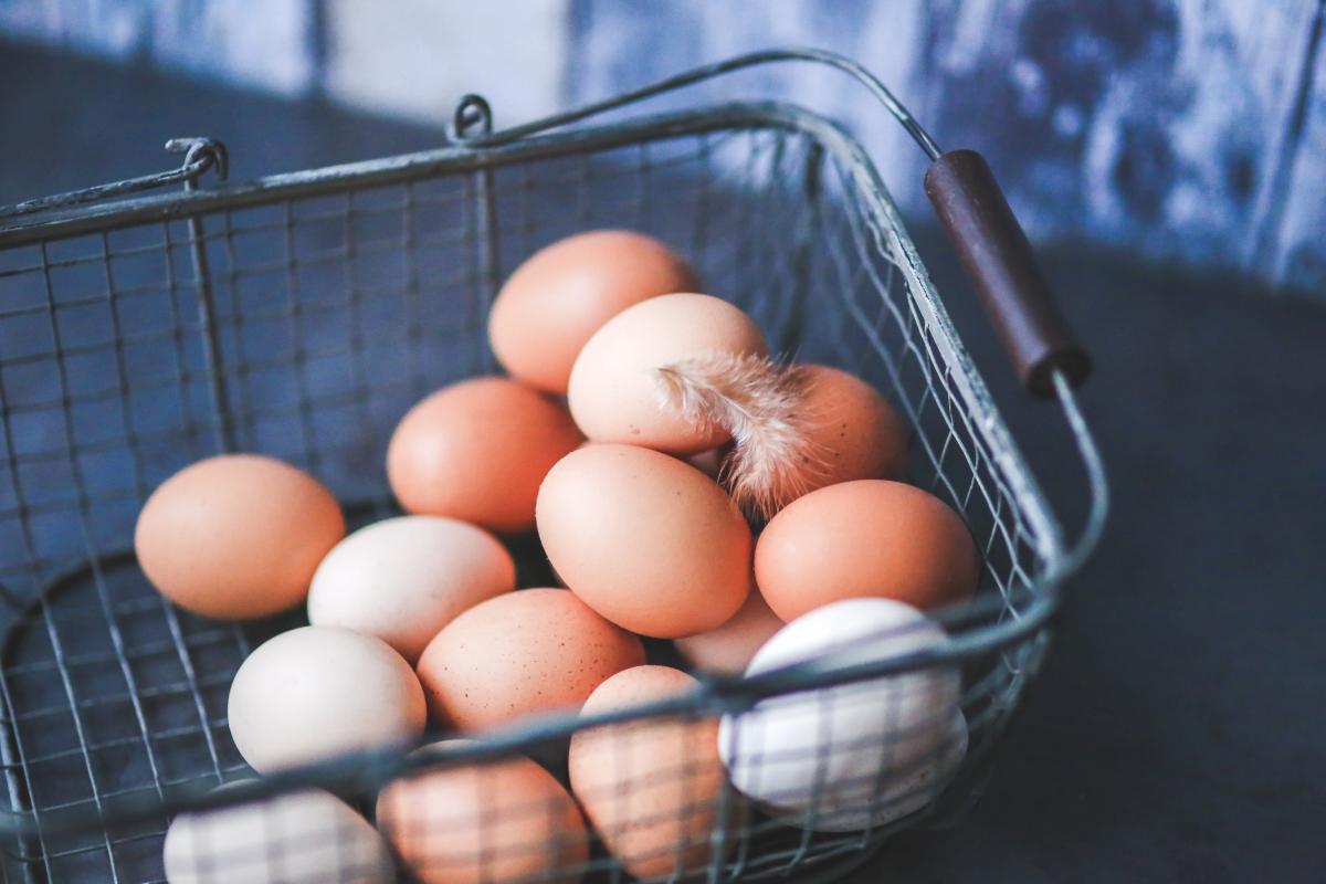 Jajka kurze i piórko w koszyku zakupowym metalowym.