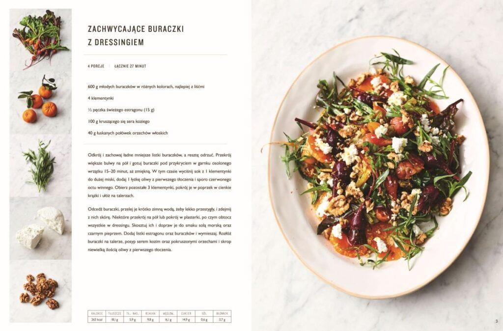 """Przepis z ksiązki Jamiego Olivera """"5 składników"""". Zachwycające buraczki z dressingiem. Pokazane wnętrze książki."""
