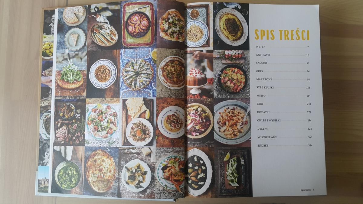 """Recenzja książki """"Jamie gotuje po włosku"""" Jamie Oliver - zdjęcie zawartości książki, spisu treści"""