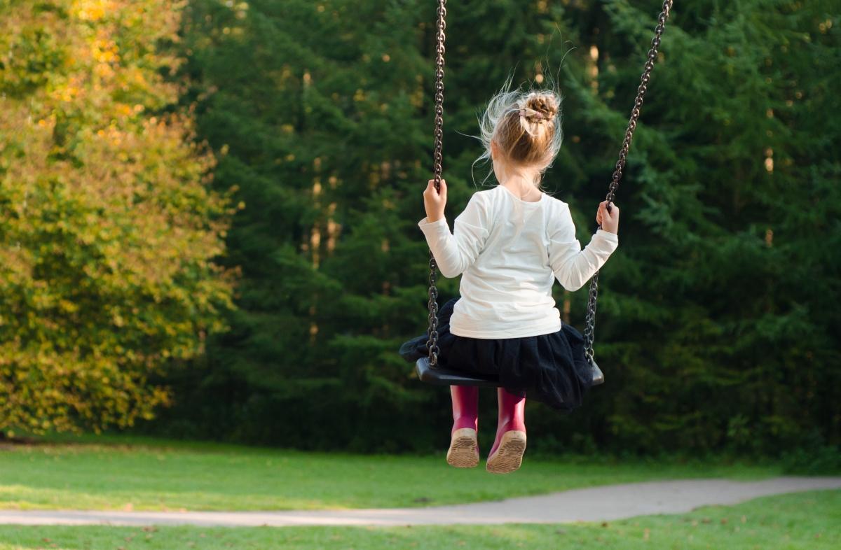 Mała dziewczynka pokazana od tyłu huśta się na huśtawce. Dziewczynka ubrana jest w białą bluzkę, spódniczkę i różowe kalosze.