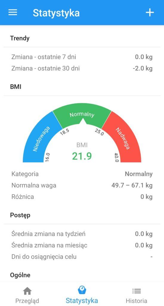 Kalkulator BMI - interpretacja